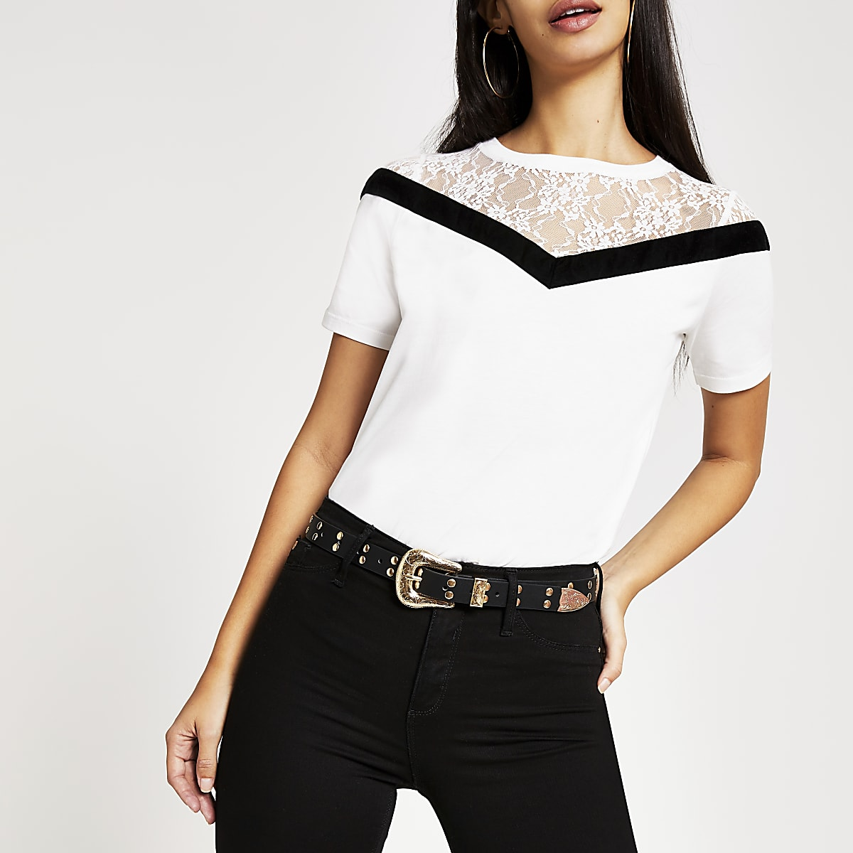 White chevron lace short sleeve T-shirt
