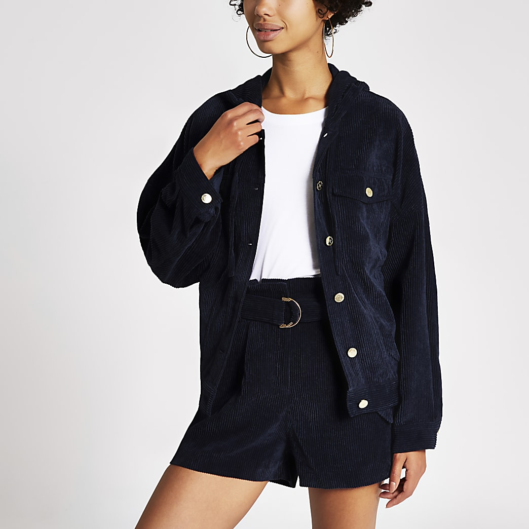 Dark blue cord paperbag shorts