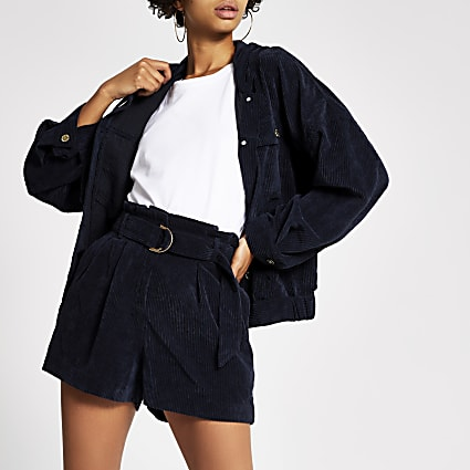 Navy corduroy hooded bomber jacket