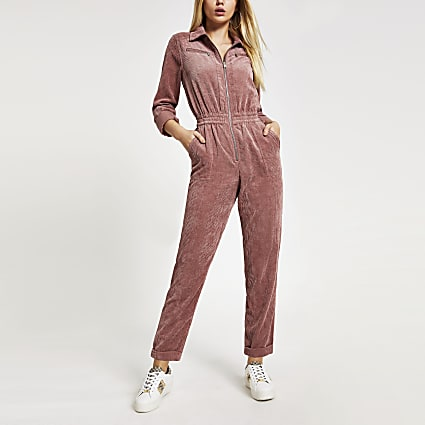 Pink corduroy utility boiler jumpsuit