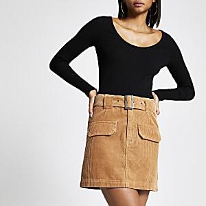 Mini-jupe en velours côtelé marron à ceinture