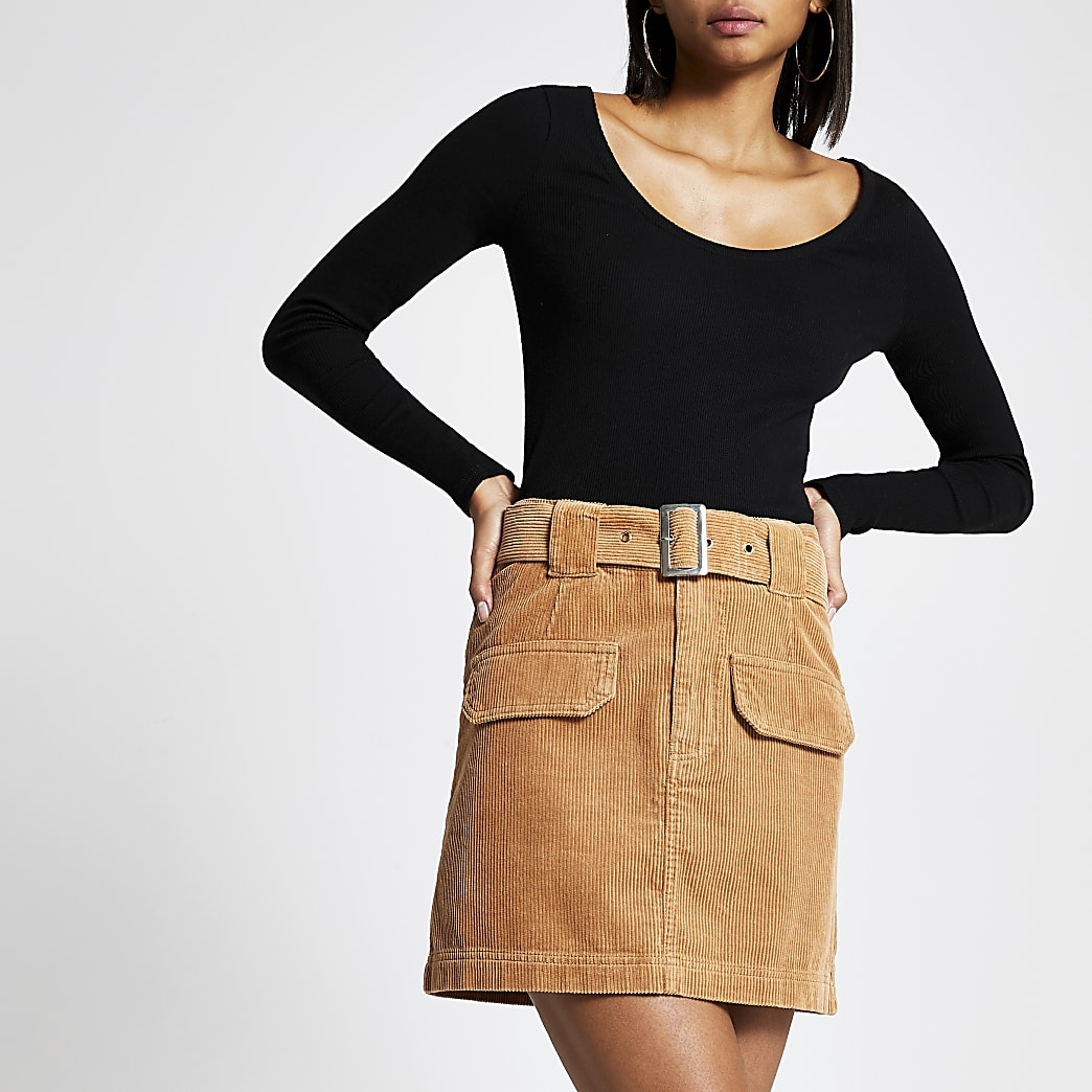 Brown belted cord mini skirt