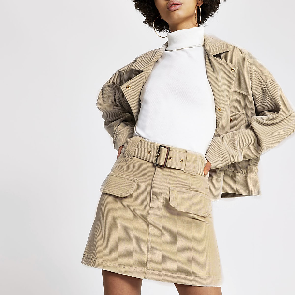 Cream corduroy belted mini skirt