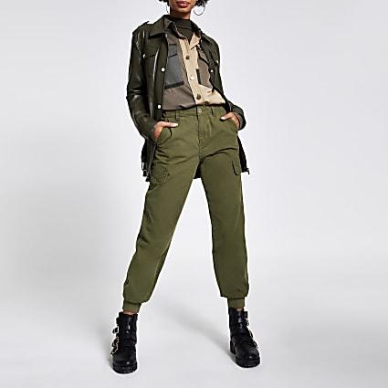 Khaki cuffed utility twill trousers