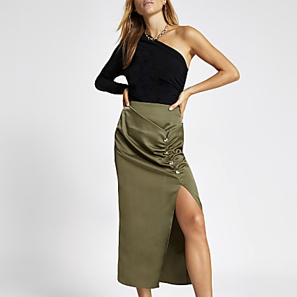 Khaki ruched front button midi skirt