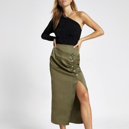 Khaki ruched front button midi skirt
