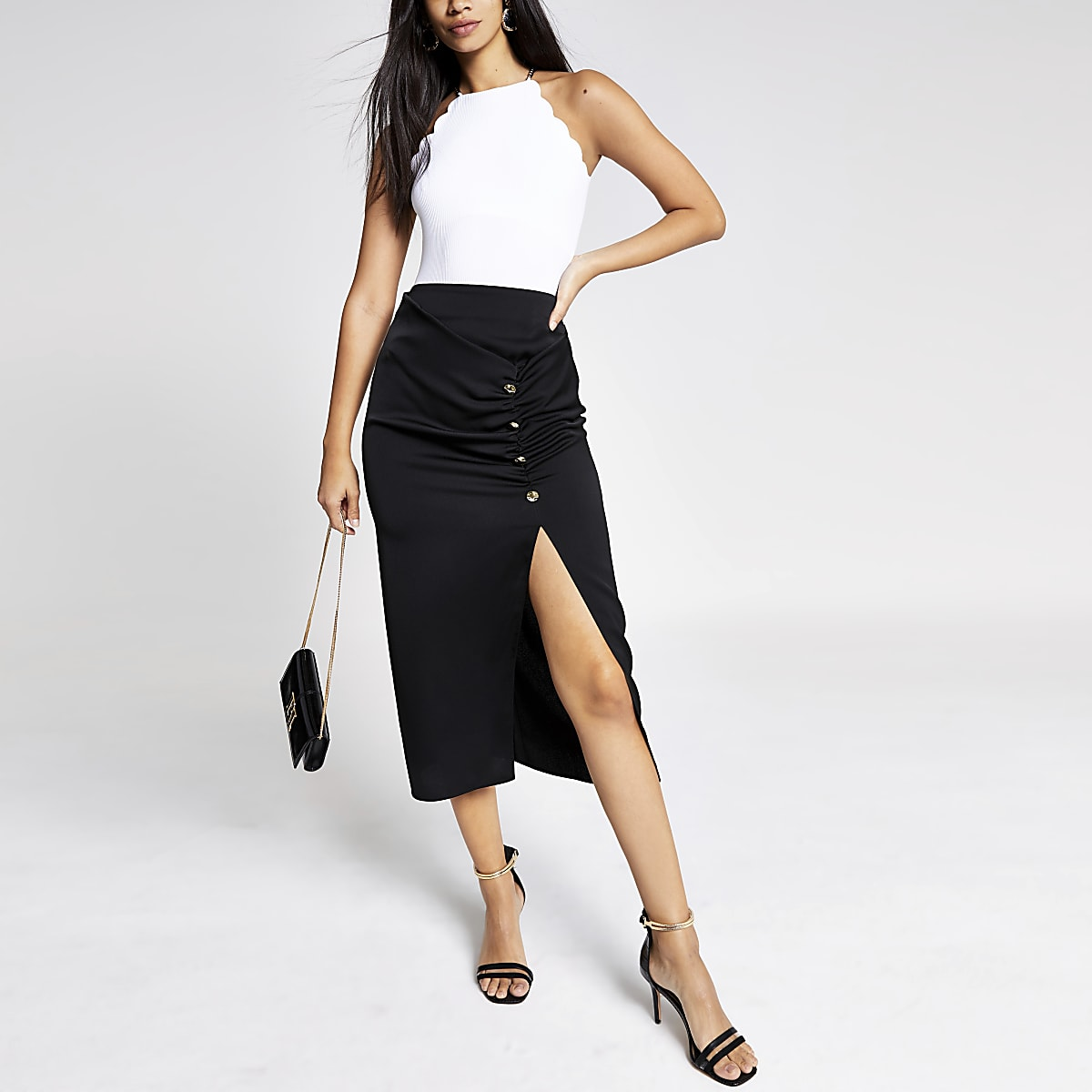 Black ruched front button midi skirt