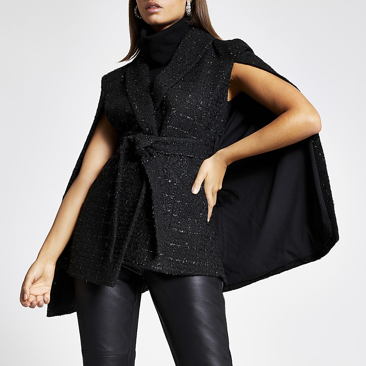 Black boucle belted cape
