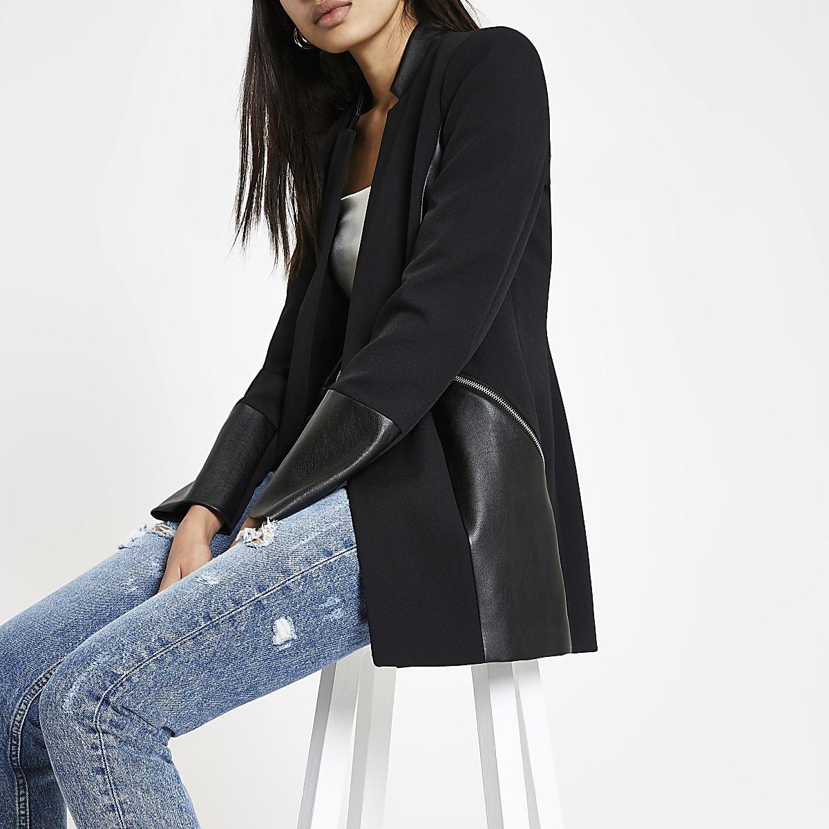 Blazer noir à poche zippée contrastante