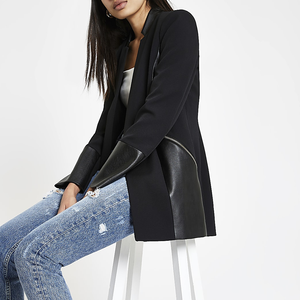 Black blocked zip pocket blazer