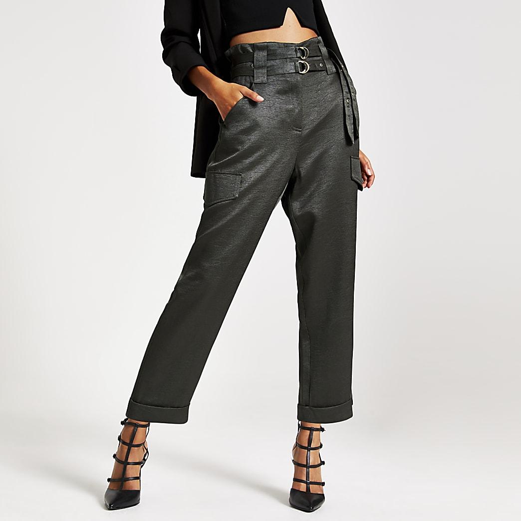 Khaki belted utility peg trousers