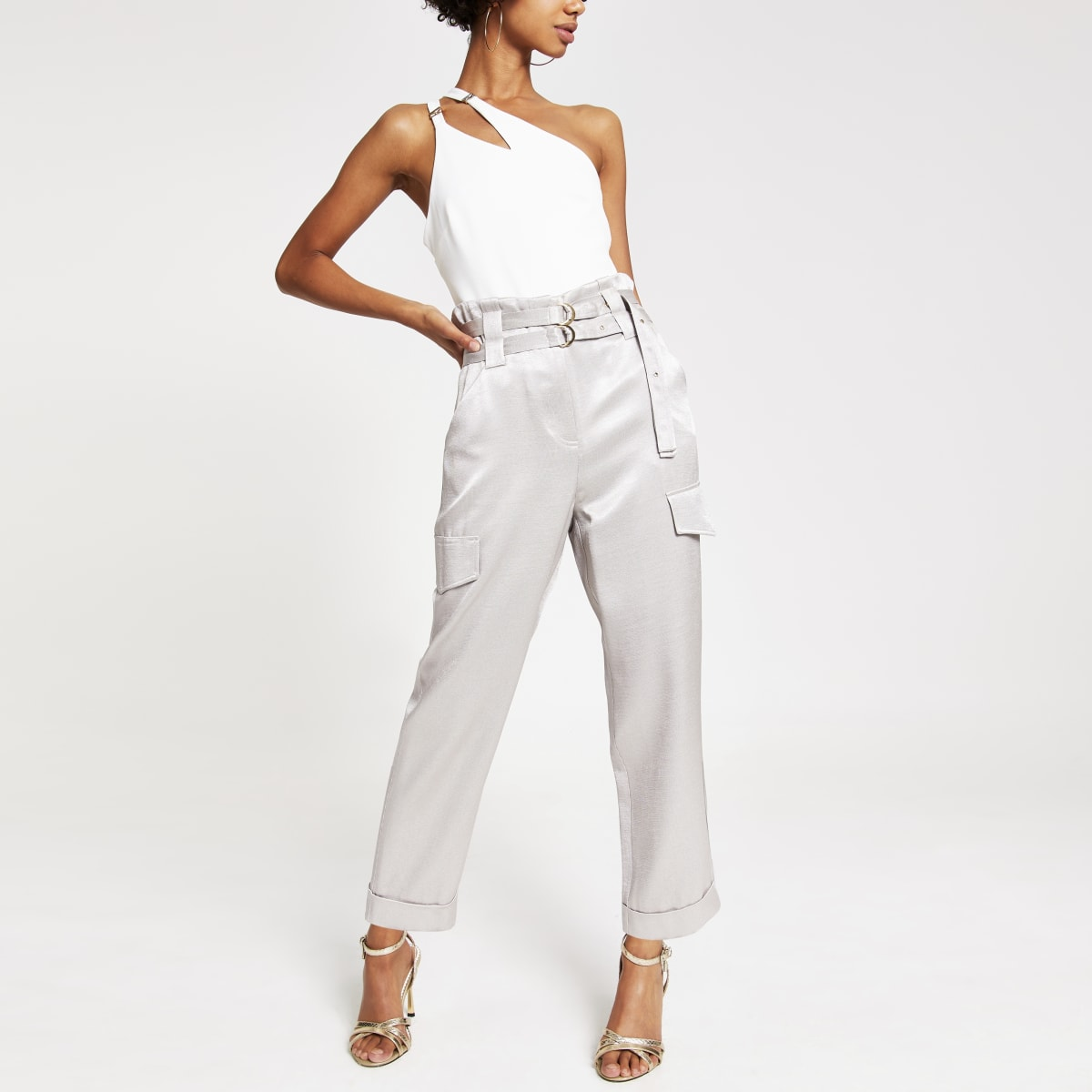 Silver belted utility peg trouser