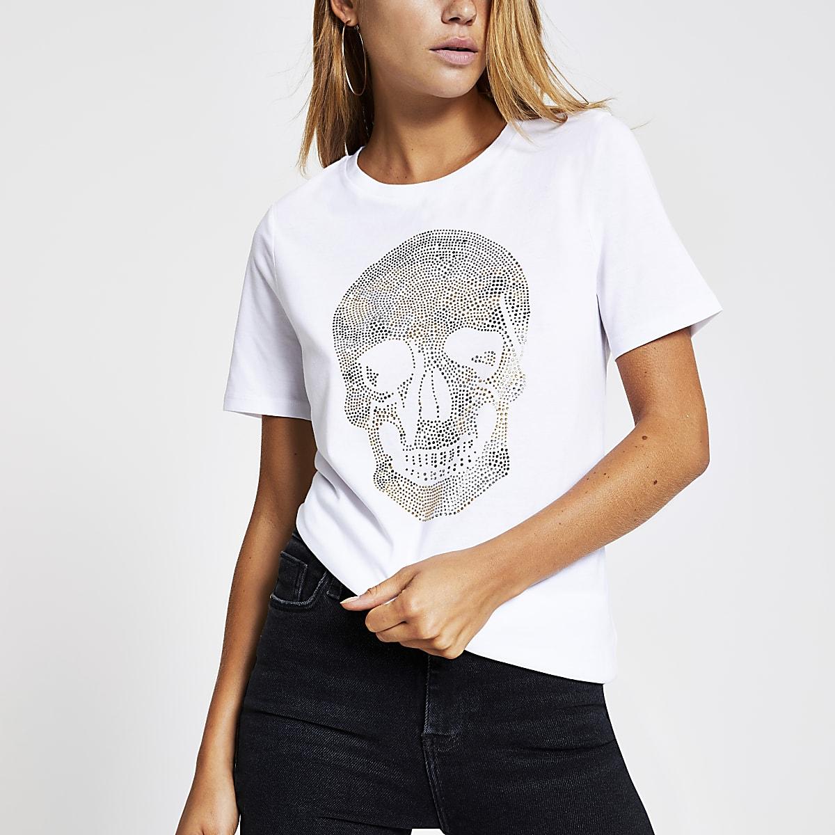 White embellished skull print T-shirt