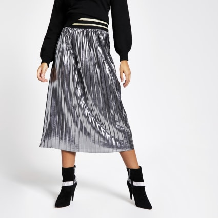 Silver metallic pleated midi skirt
