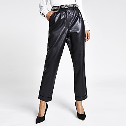 Black faux leather diamante belted trousers