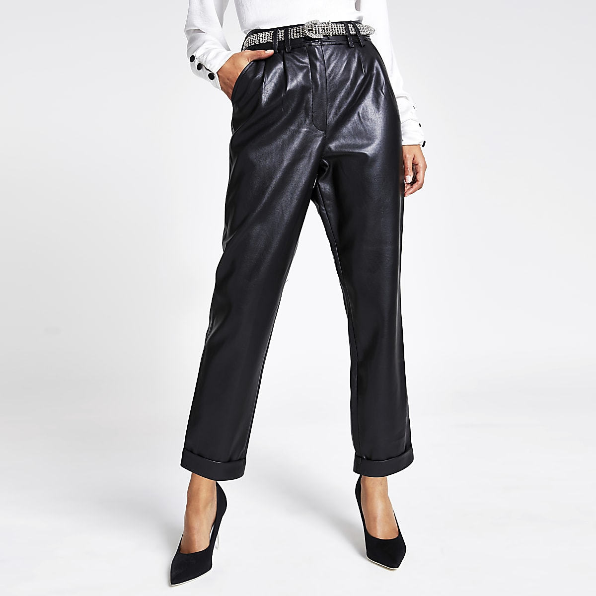 high fashion the best attitude various styles Black faux leather high waisted trousers