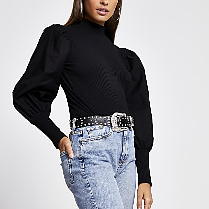 Black long puff poplin sleeve ribbed top