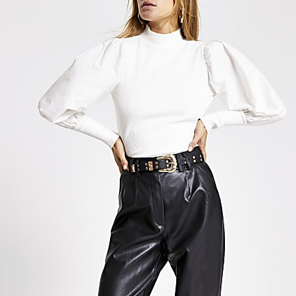 Cream long puff poplin sleeve ribbed top