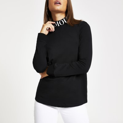 Black 'l'amour' High Neck Long Sleeve T Shirt by River Island