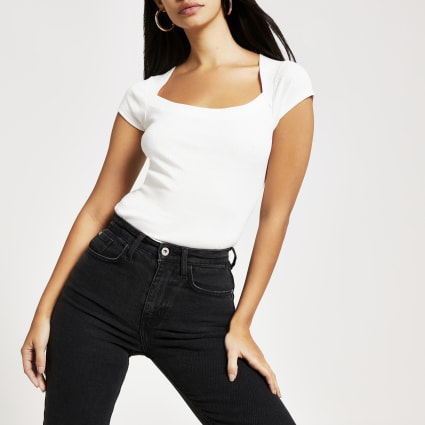 White short sleeve cut away ribbed T-shirt