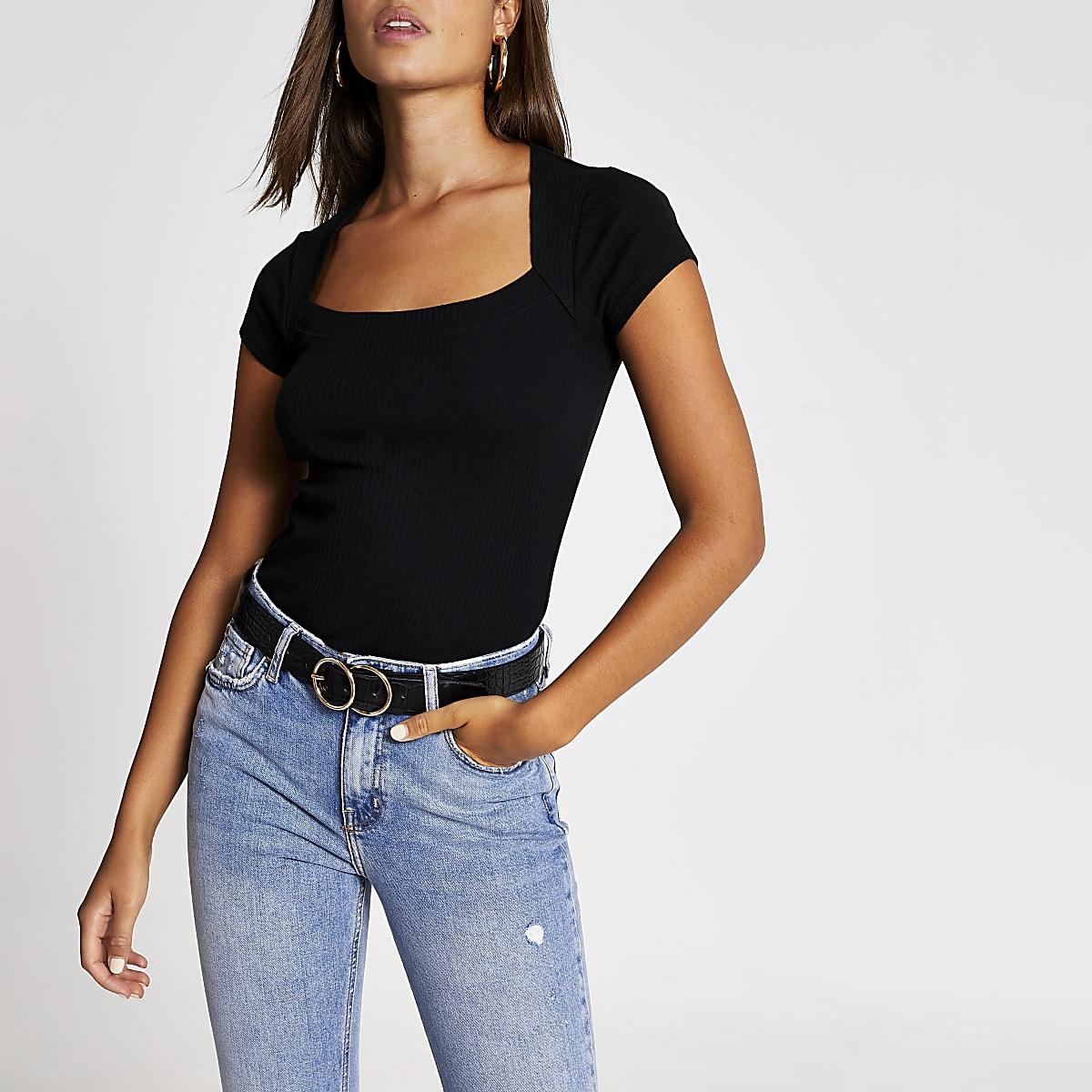 Black short sleeve cut away ribbed T-shirt