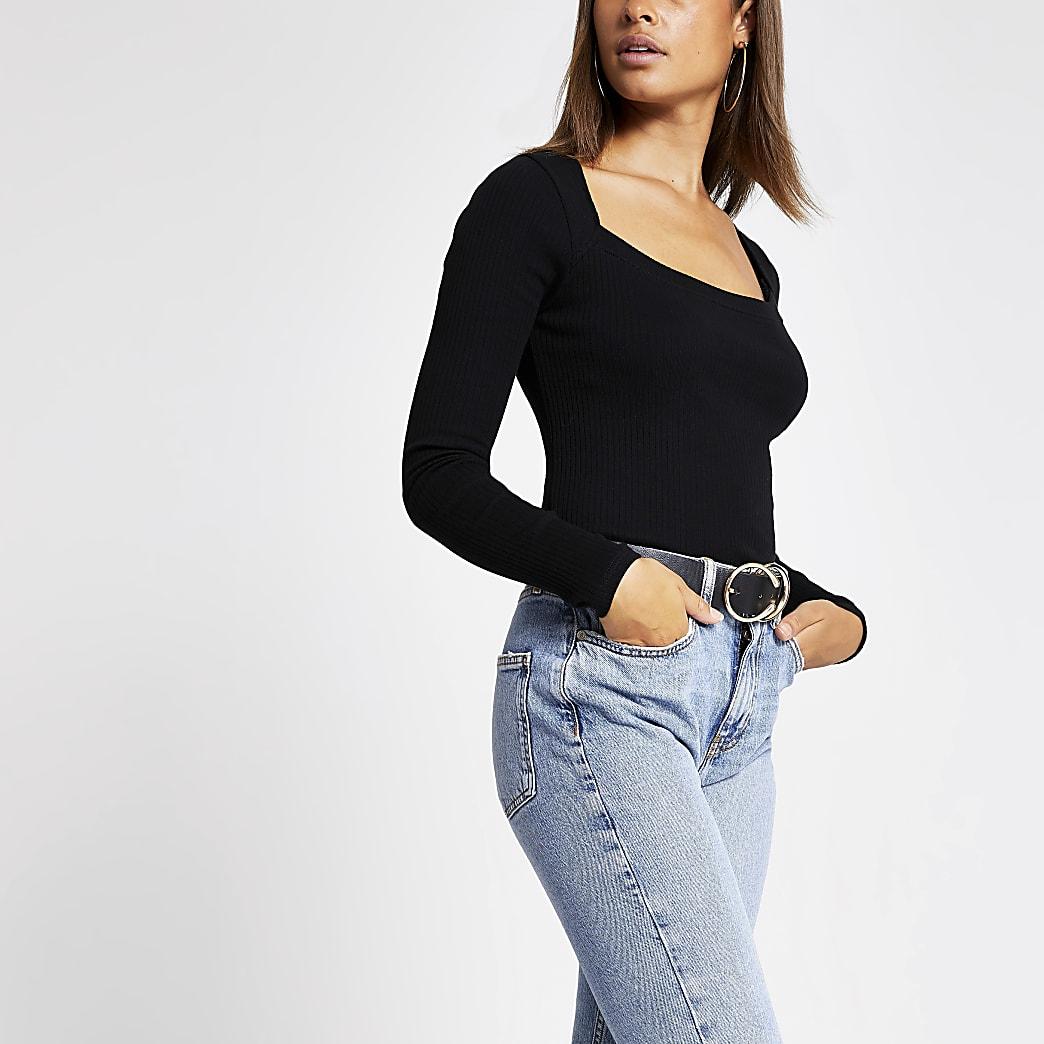 Zwart geribbeld T-shirt met lange mouwen en uitsnede