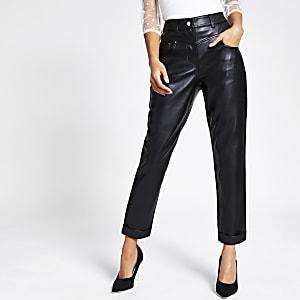 Pantalons Mom noirs en cuir synthétique