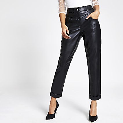 Black faux leather Mom trousers
