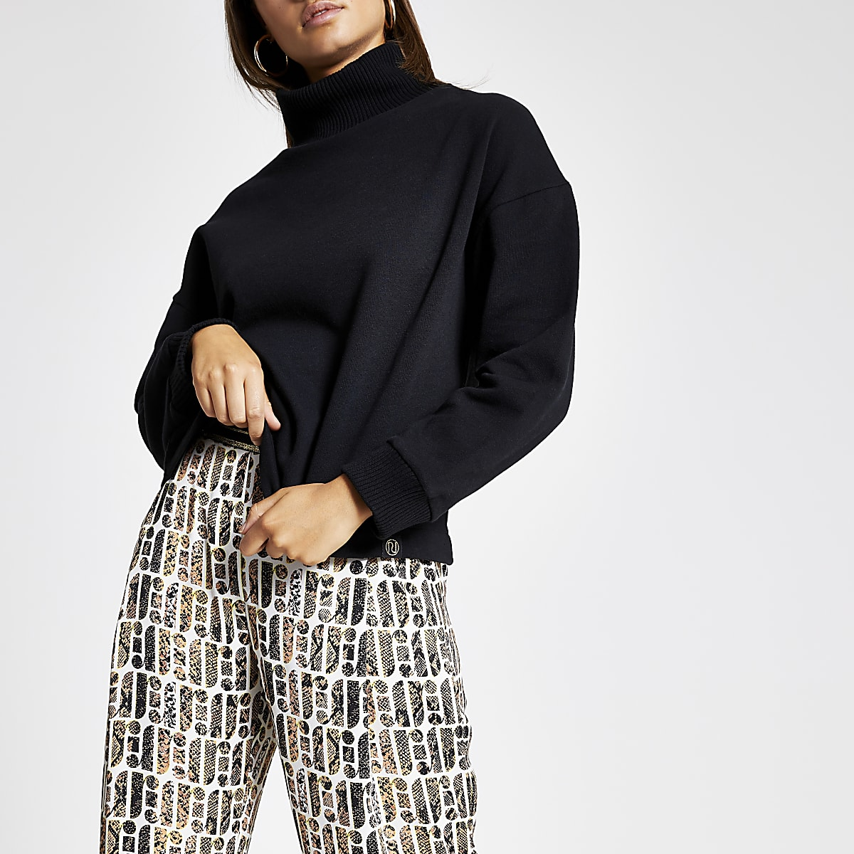 Zwart hoogsluitend sweatshirt met ribbels