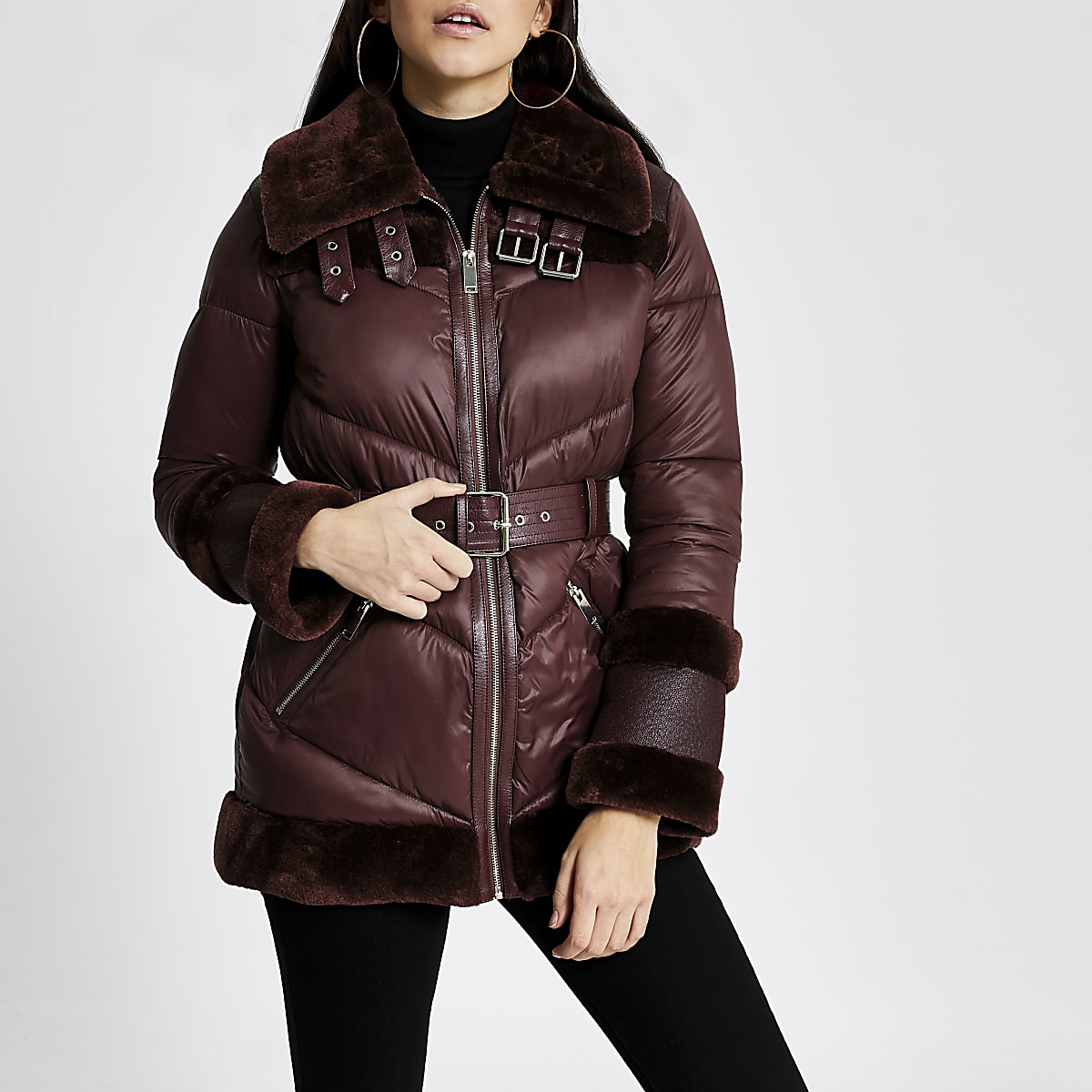 Dark red belted aviator padded coat
