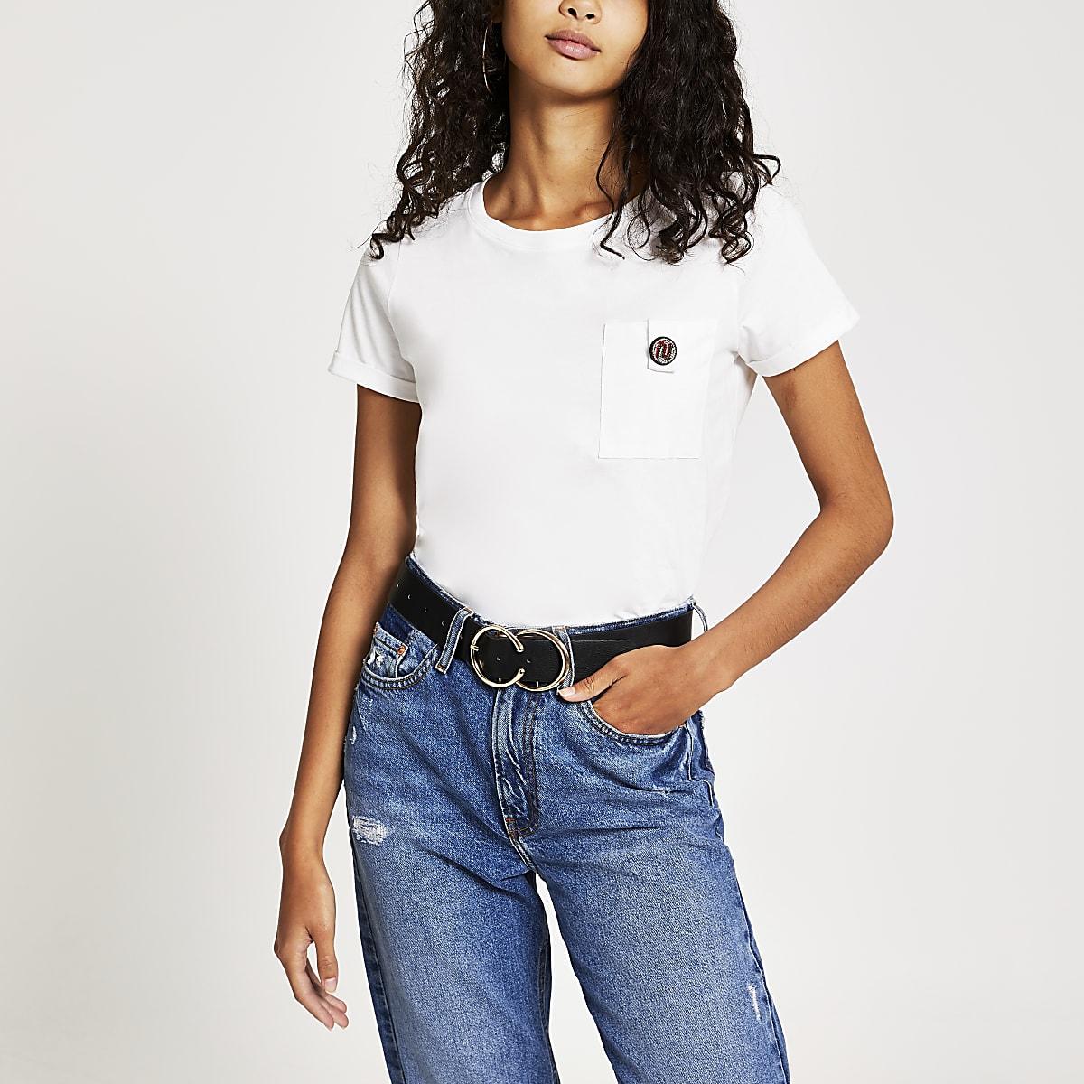 White RI diamante button pocket T-shirt
