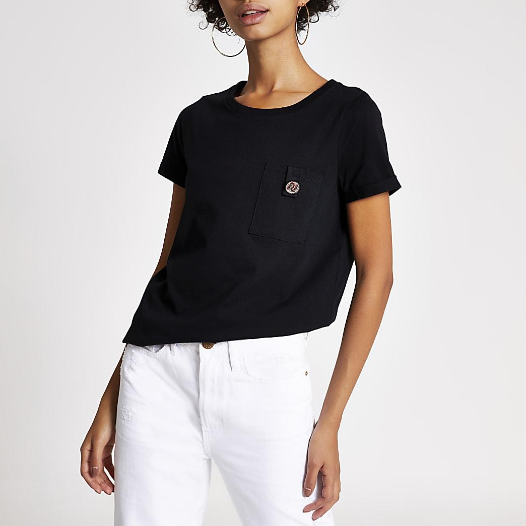 Zwart T-shirt met RI-logo, siersteentjes en zakje met knoop