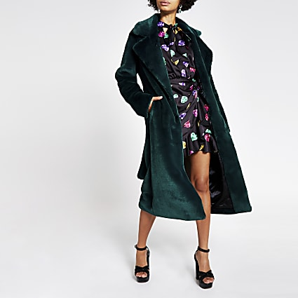 Dark green faux fur robe longline coat