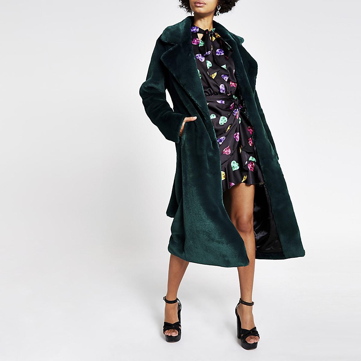 Dark green faux fur robe longline coat