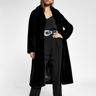 Black faux fur robe longline coat
