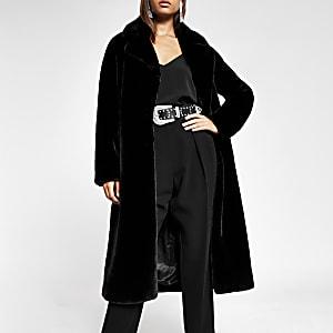 Schwarzer Longline-Mantel aus Kunstfell