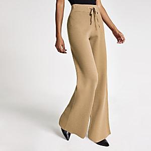 Pantalon droit en maille marron