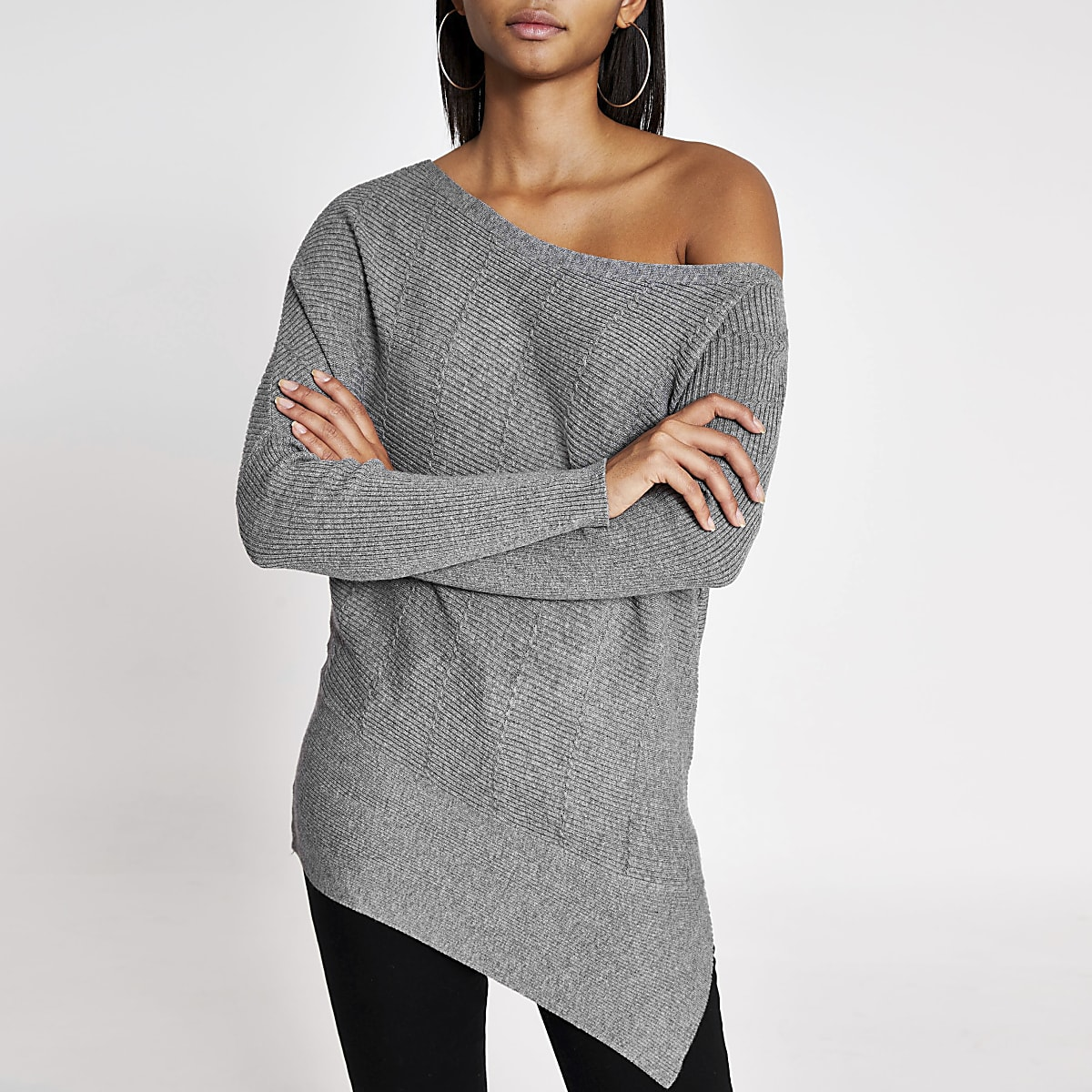 Grey cable knitted asymmetric shoulder jumper