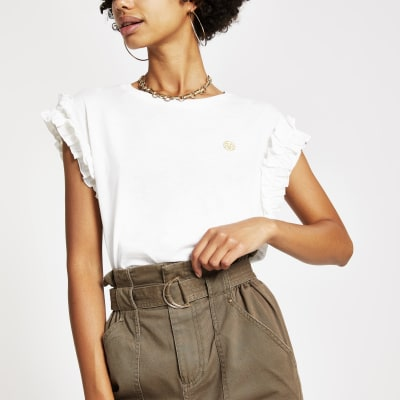 White Frill Sleeve T Shirt by River Island