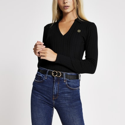 Black RI long sleeve ribbed polo shirt