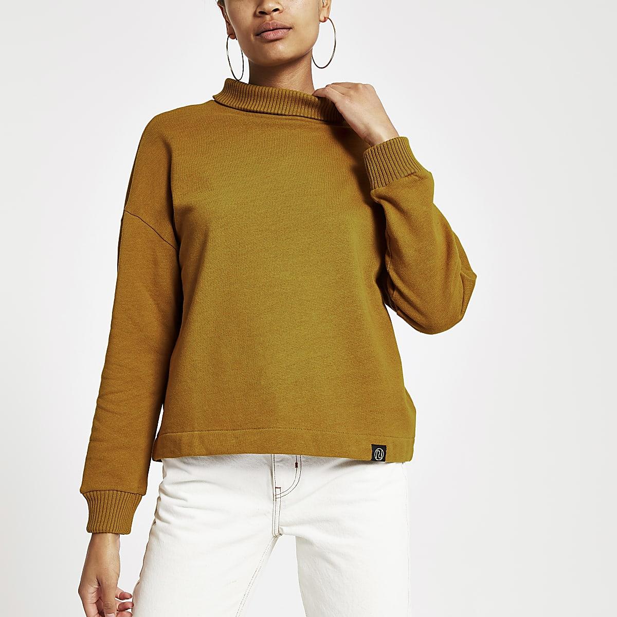 Donkergeel hoogsluitend sweatshirt met ribbels