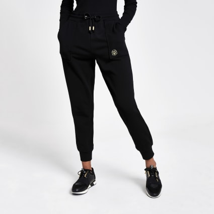 Black RVR embroidered joggers