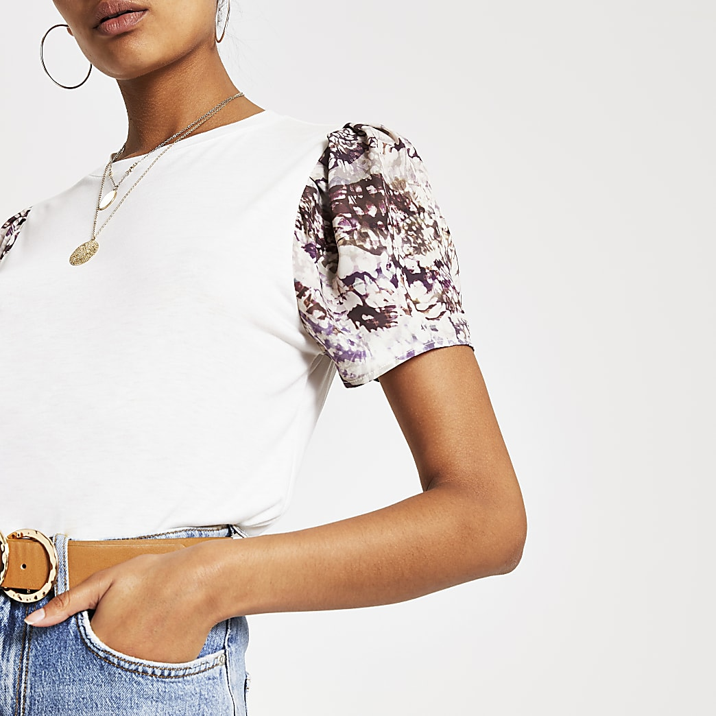 White printed short sleeve top