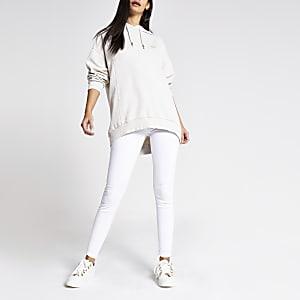 Beige longline long sleeve RI hoodie