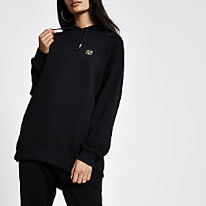 Black longline long sleeve RI hoodie