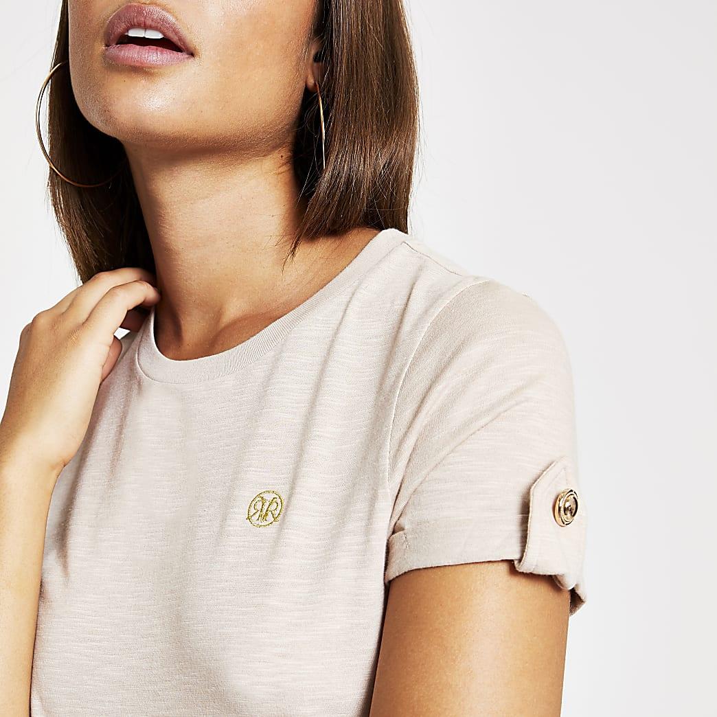 Beige T-shirt met RI-monogram en mouwen met omslag