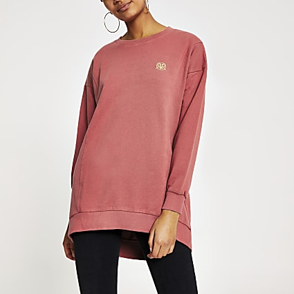 Red RI longline ribbed sweatshirt
