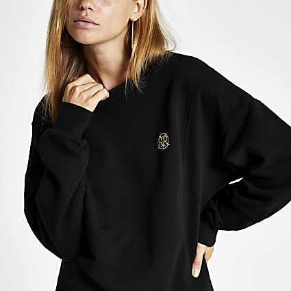Black RI longline ribbed sweatshirt
