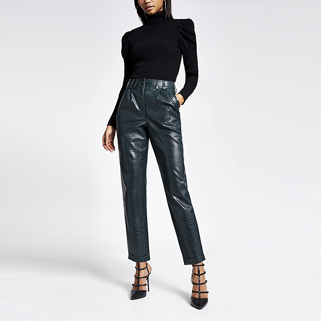 Green faux leather croc embossed trousers