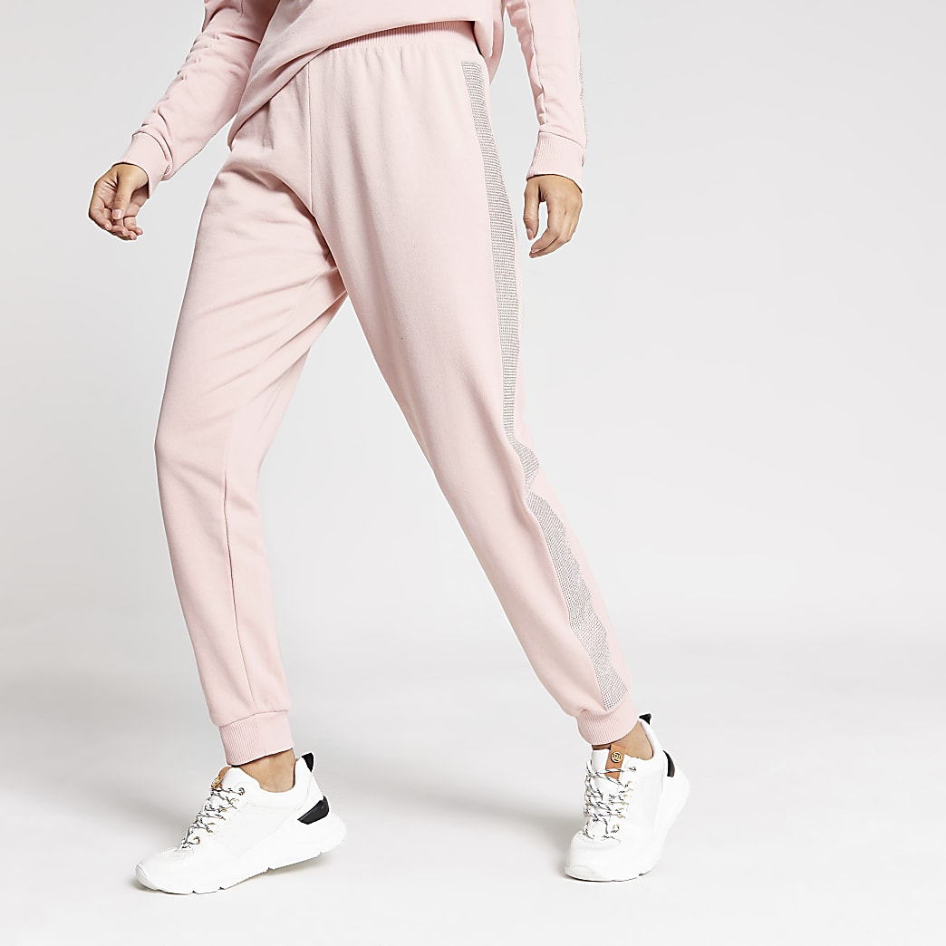 Pink diamante embellished side joggers